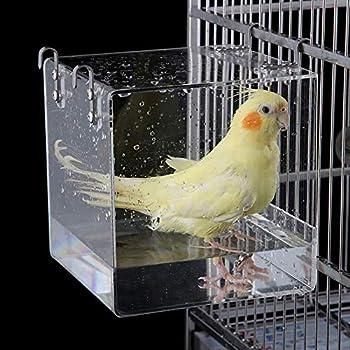 WAZA Boîte de salle de bain en acrylique pour oiseaux Boîte suspendue de baignoire pour oiseaux Douche Maison de bain d'oiseaux 13 x 11 x 13 cm