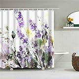Fansu Duschvorhang Anti-Schimmel, 3D Drucken 100prozent Polyester Bad Vorhang Wasserdicht Anti-Bakteriell mit C-Form Kunststoff Haken mit 12 Ringe für Badzimmer (Lavendel,90x180cm)