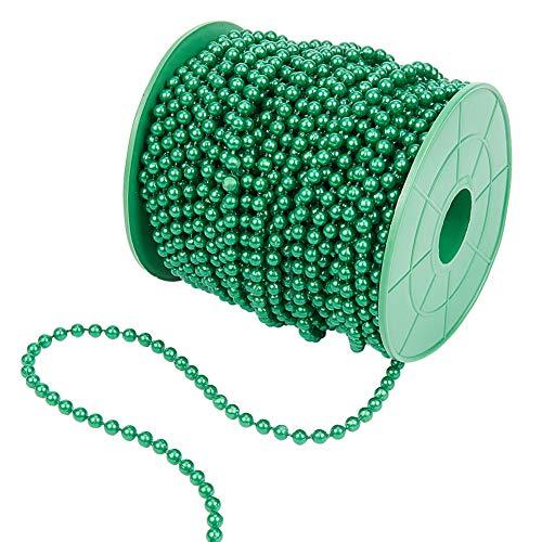PandaHall 30m Imitazione Verde Perla Stringa Acrilico Perlina Catena Albero di Natale Ghirlanda Catena per Giorno di San Patrizio Decorazione di Nozze di Natale Fai da Te