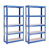 Etagère de rangement pour Garage (2 Unités), 150cm x 75cm x 30cm (Bleu) – 5 Niveaux, Capacité de 875kg (175kg par Étagère) – très résistant, Charge lourde
