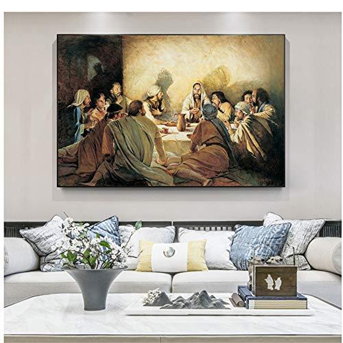 chthsx La última Cena Famosos Cuadros de Lienzo de Arte en la Pared Carteles e Impresiones de Arte Cuadros de Lienzo de Jesús para la decoración de la Sala de estar-80x120 cm Sin Marco