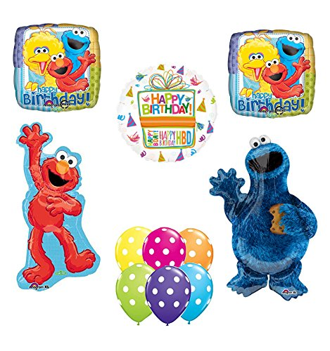 Mayflower Products Sesame Street Waving Elmo and Cookie Monster Party Supplies and Balloon Bouquet Decorations