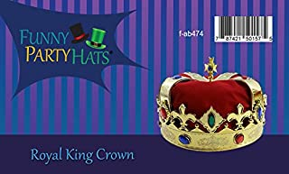 Funny Party Hats Royal Jeweled King's Crown - Costume Accessory للبيع