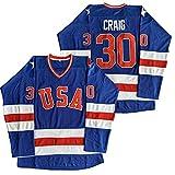 1980 Olympic Team USA Hockey 17 Jack O'Callahan 21 Mike Eruzione 30 Jim Craig Miracle On Ice Hockey Jersey Blanco Azul - Azul - Medium