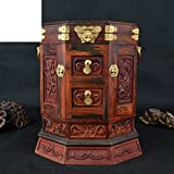 Palissandre rouge pivotant miroir bijoux boîte boîte à bijoux antique collectibles cadeaux ornements artisanat acajou classique-A