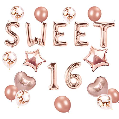 JeVenis Rose Gold Sweet 16 Luftballons Sweet 16 Banner Luftballons Sweet Sixteen Dekoration 16. Geburtstag