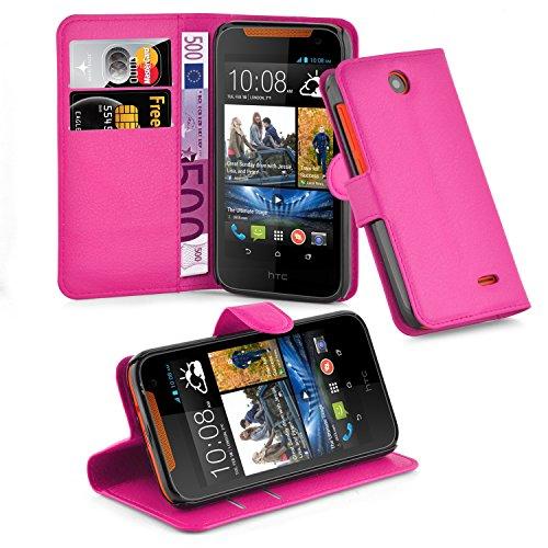 Cadorabo Hülle für HTC Desire 310 in Cherry PINK - Handyhülle mit Magnetverschluss, Standfunktion & Kartenfach - Hülle Cover Schutzhülle Etui Tasche Book Klapp Style