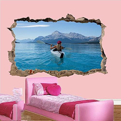 Etiqueta De La Pared 3D -Calm Lake Girl Canoeing Pegatina De Pared Cartel Art Habitación Decoración Mural Vinilos Pared, Decoracion Hogar 80x125cm