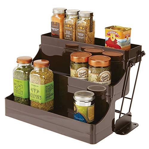 mDesign - Kruidenrek met 3 etages - organizer/opberger - ruimtebesparend - voor keuken en voorraadkast- voor kruiden/specerijen/potjes - plastic - plastic - brons