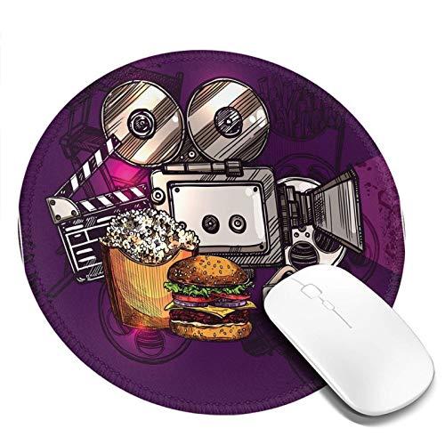 Alfombrilla de ratón redonda lavable, dibujos animados como la imagen de la película de cine hamburguesas palomitas de maíz gafas ver película, alfombrilla antideslizante de goma