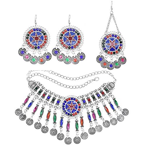 xiangwang Juego de collar y pendientes de cristal colorido para mujer, collar tibetano africano con borla larga y colgante maxi conjuntos de joyas (color metálico: B)