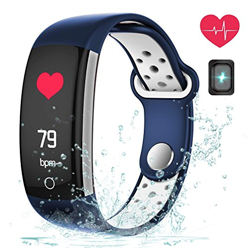 feifuns Fitness Tracker Heart Rate Monitor Watch, IP68 Waterproof Activity Tracker Pedometer Watch Alarm Clock Step Calorie Sleep Tracker as Fit Watch Gift(Blue+White)