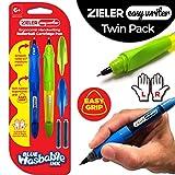Zieler - Paquete de 2 bolígrafos ergonómicos para escritura a mano - Aptos para diestros y zurdos - Mango ergonómico de goma suave - Punta de 0,7 mm media, trazado elegante - 2 cartuchos de tinta