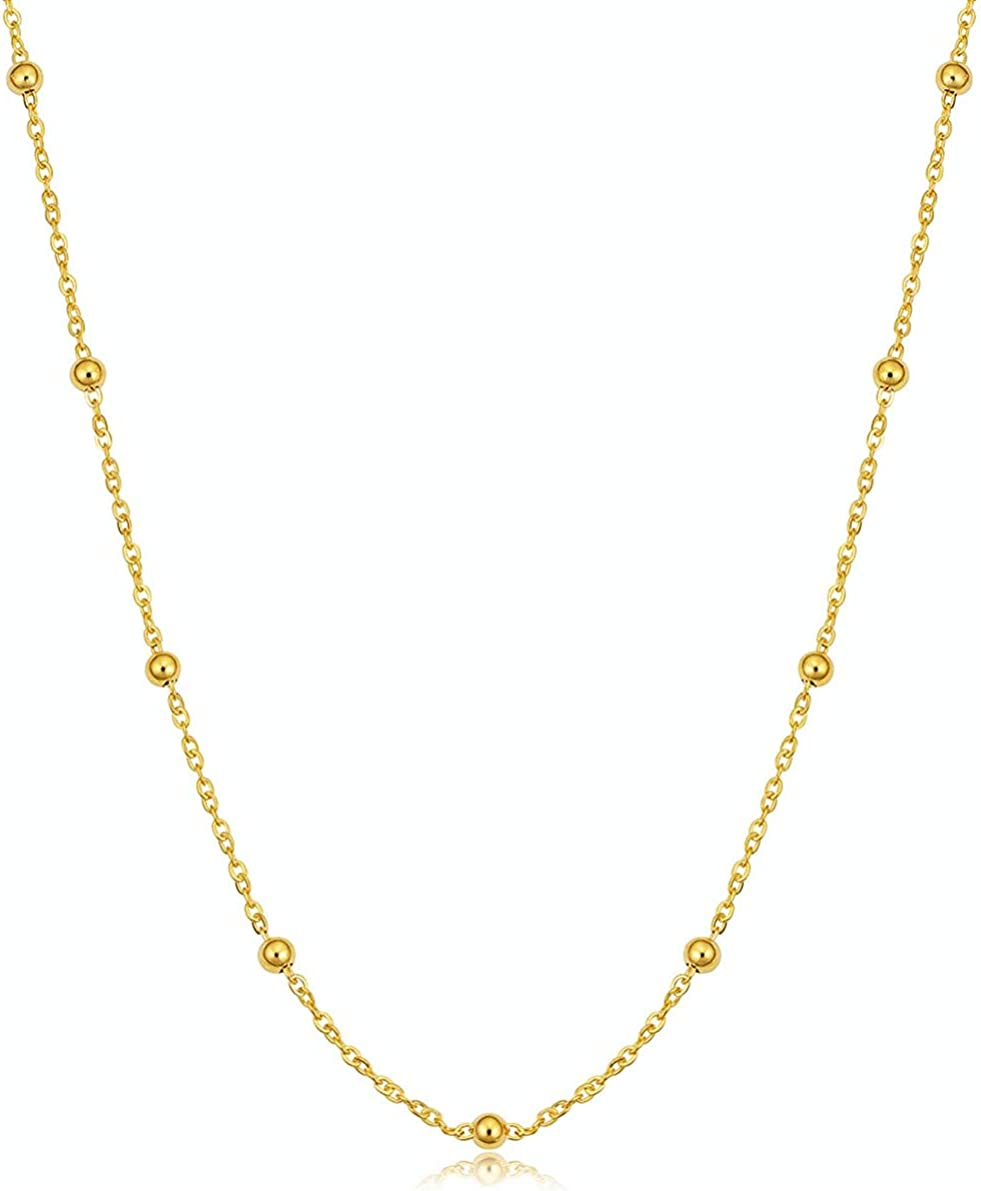 YUESUO Choker Necklaces 14K Gold Plated Flat Snake Paperclip Cha