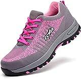 SROTER Unisex Zapatillas de Seguridad con Puntera de Acero Hombre Mujer Zapatos de Trabajo Transpirables Antideslizante Ligeras Comodas Zapatillas de Senderismo (EU 40, 03 Rosa)