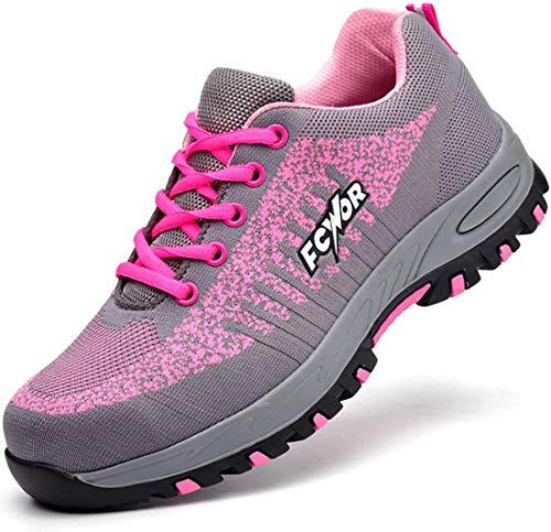 SROTER Unisex Zapatillas de Seguridad con Puntera de Acero Hombre Mujer Zapatos de Trabajo Transpirables Antideslizante Ligeras Comodas Zapatillas de Senderismo Rosa 38 EU