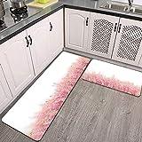 2 Piezas Alfombrillas de Cocina,Campo de Flores de Brezo orgánico Natural pequeño Color Rosa Violeta Antideslizante Alfombra para Puerta de Baño Juego de alfombras Cocina Lavables