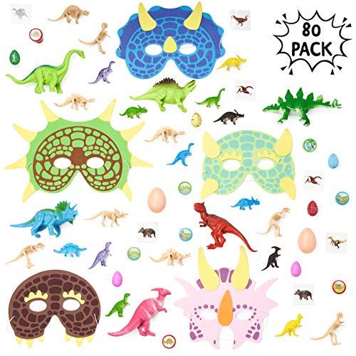 THE TWIDDLERS Conjunto de 80 Granel Juguetes de Mini Dinosaurios Surtidos - Amplia selección - Ideal para Bolsas Regalo de Fiesta - Rellenos de piñata - Fiestas temáticas de Dinosaurios y Eventos