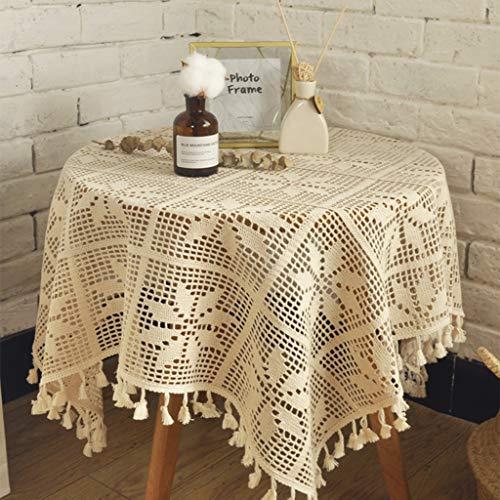 Skkyer Hecho a Mano del cordón del Ganchillo Mesa Redonda Mantel, tapete, Muebles, decoración de la Boda (Size : 105 * 160C)