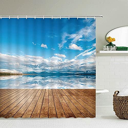 XCBN Paisaje de Playa mar Palmera Cortina de Ducha Impermeable y a Prueba de Moho Cortinas de baño decoración del hogar Puede Agua mampara de baño M5 150x180cm