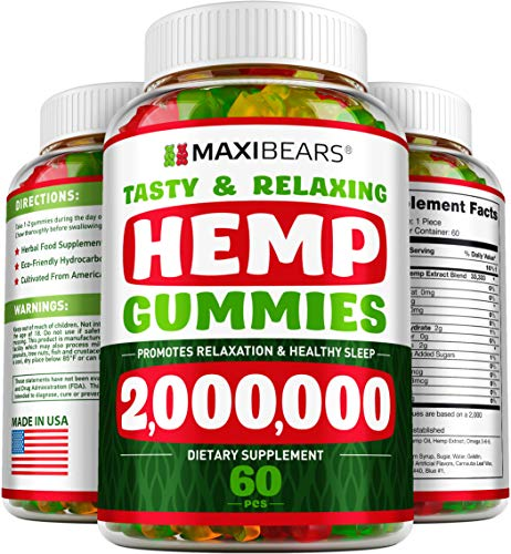Maxibears Hemp Gummies - Herbal Gummies for Stress & Anxiety Relief - Made in USA - Rich in Omega 3-6-9-60 pcs