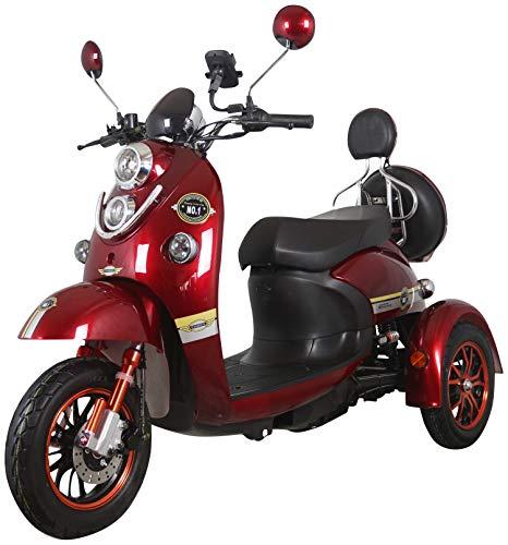 Nuevo scooter eléctrico de movilidad estilo retro de 3 ruedas para minusválidos y personas mayores hasta 25 km/h motor de 800 watt 60V 100AH Rojo Green Power
