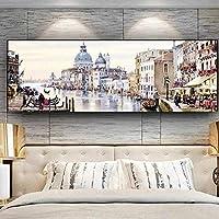 キャンバスに絵を描く抽象的な都市のウォーターリゾートボートの建物 ポスターとプリントリビングルームの壁アート家の壁の装飾-60x180cmフレームなし