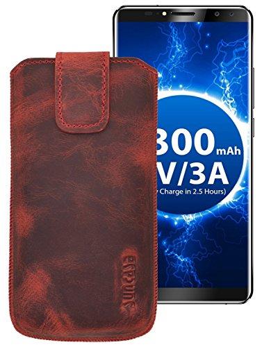 Suncase ECHT Ledertasche Leder Etui für Oukitel K6 Tasche (mit Rückzugsfunktion) antik-rot
