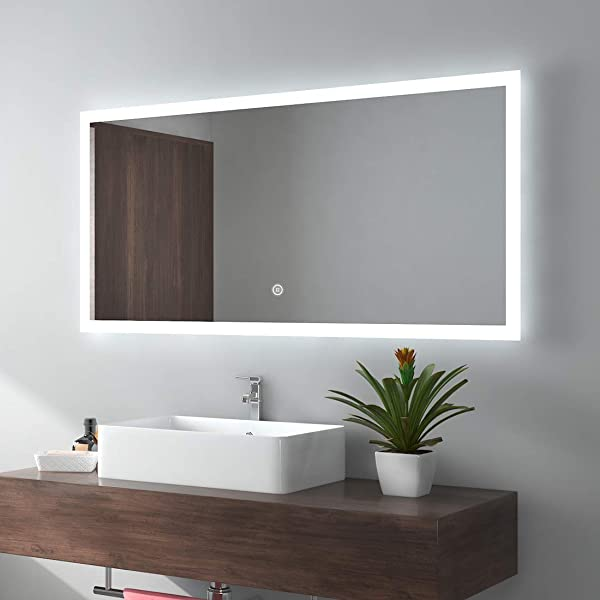 Meykoe LED Bathroom Mirror Wall Mounted 48 X24 Inches Energy Efficient Illuminated Mirror With Touch Switch Cool White Horizontal