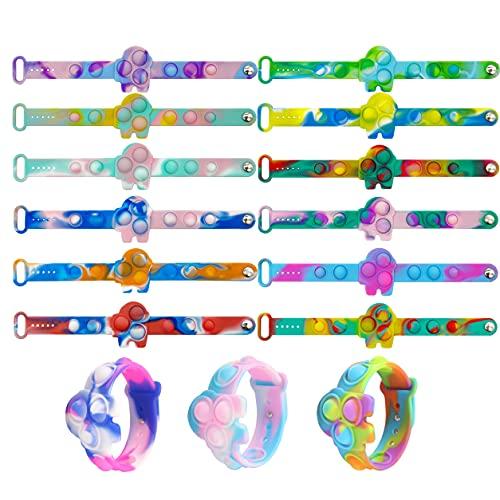 15 pulseras Pop Fidget Juguetes, duraderas y ajustables, muñequeras para aliviar el estrés, juegos de juguetes de emoción para niños y adultos