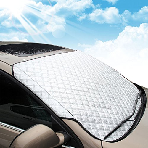 MATCC Car Windshield Snow Cover 4Layers Frost Guard Winter Snow Ice Cover Snow Cover Protector Winter Snow Removal Car Cover Waterproof