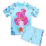 HUAANIUE - Traje de baño para adolescentes, 2 piezas, traje de baño para niñas de 3 a 14 años, color rosa, ropa de playa de verano para traje de niña (azul de 8 a 9 años)