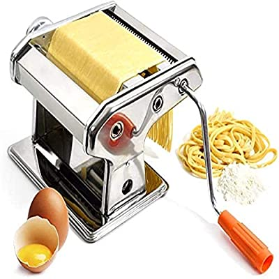 LMM Pasta Maker Machine Stainless Steel Manual Pasta Maker Machine Noodle Cutter Making Machine Pasta Machine Used to Make All Kinds of Noodles (Color : Silver, Size : ONE Size)