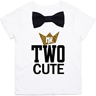 Boys 2nd Birthday Shirt Two Cute Black and Gold Bow Tie