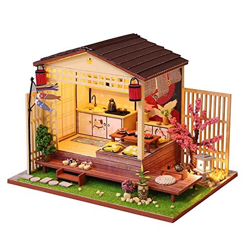 RGLIN DIY cabaña de Estilo japonés Hecha a Mano de Madera Sakura pequeña casa con Luces LED Creativo Modelo de construcción ensamblado a Mano Regalo del día de la niña Grande