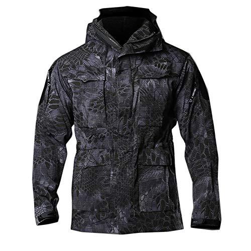 DIMPLEYA Veste d'extérieur Vêtement léger imperméable Coupe-Vent Softshell Ajustable Poches Camping en Plein air Randonnée pédestre,Black Snake,XL