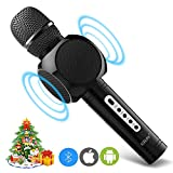 Microfono Senza Fili Wireless per Karaoke, Portatile con 2 Altoparlanti Incorporati, 3.5mm AUX e Batteria da 2600mAh, Registrazione Compatibile con PC/iPad/iPhone/Smartphone, colore Nero