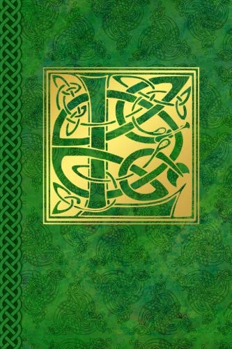 Celtic Letter L Vintage Irish Monogram Journal: Green Gold Celtic Knot Name Initial Diary Blank Lined Book