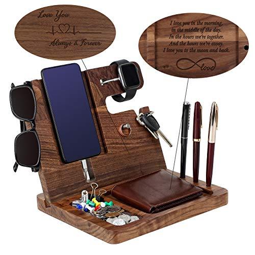 Wooden Phone Docking Station for Men - Engraved...