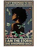 They Whispered Black Girl Dragonfly VerticalArt Poster (Paper No Frame, 16x24)