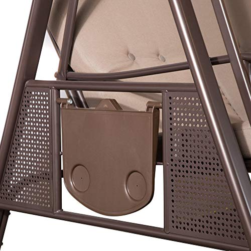 SORARA Luxus 3-sitzer Hollywoodschaukel | Braun | extra stabile Ausführung | Gartenschaukel Gartenliege Schaukelbank Gartenmöbel - 2