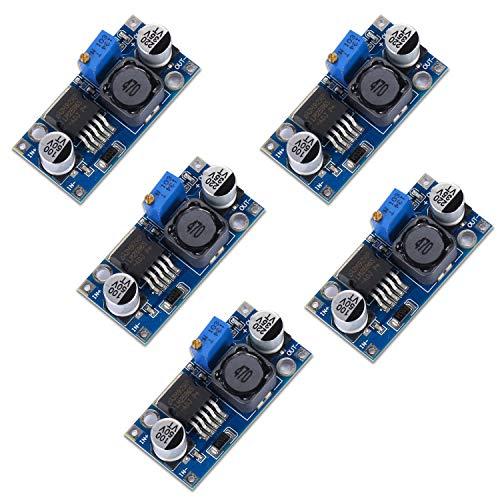 Yizhet 5-pack Buck-omvandlare LM2596 DC till DC-omvandlare högeffektiv spänningsregulator 3,0-40 V till 1,5-35 V Buck-omvandlare justerbar strömförsörjningsmodul