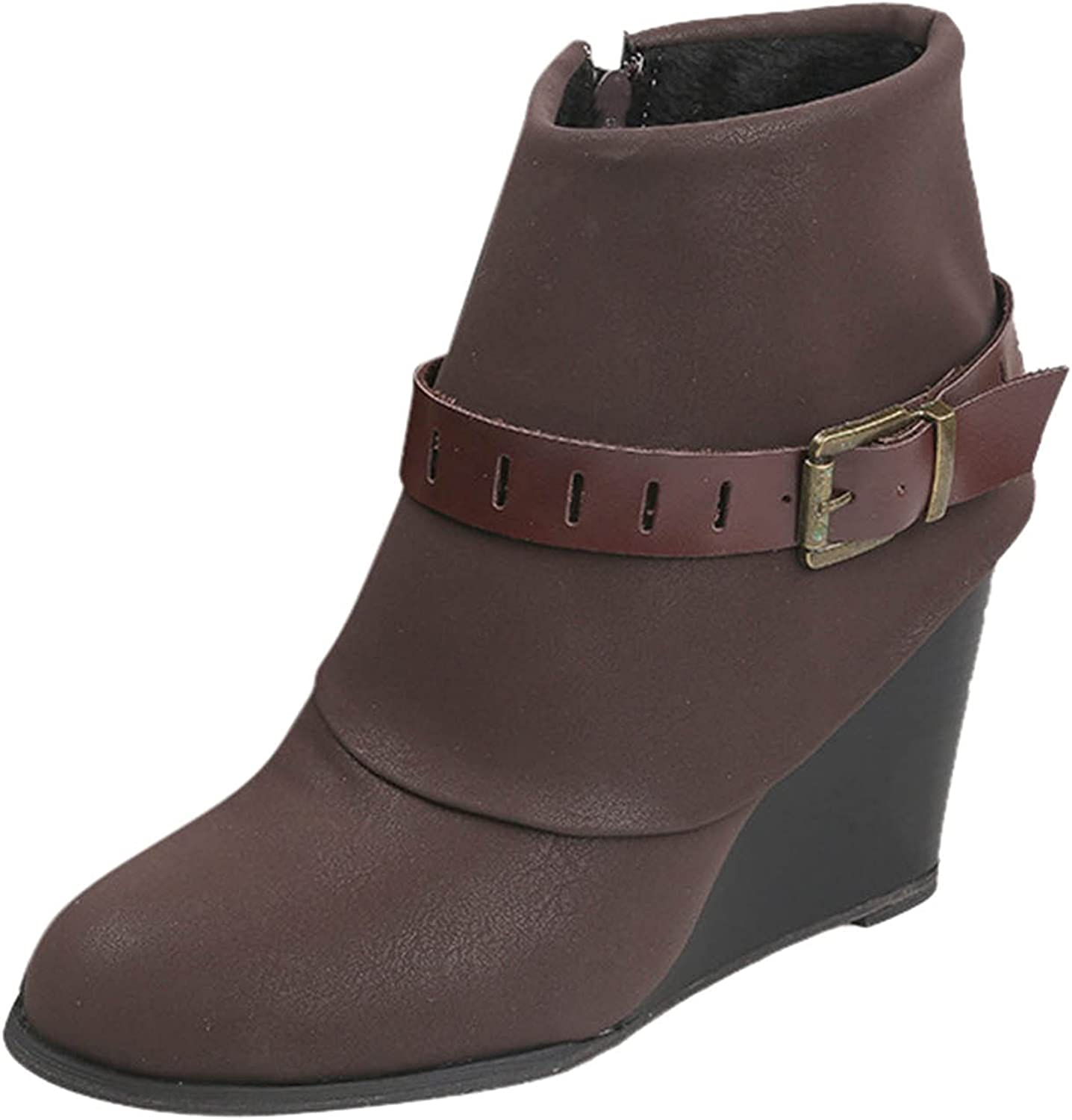 Boots for Women Square Heel Shoes Middle Tube Leather Slip-On Boots Round Toe Boots