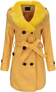 Fulision Women's Long Sleeve Slim Warm Double-Breasted Coat Winter Trench Jacket with Belt
