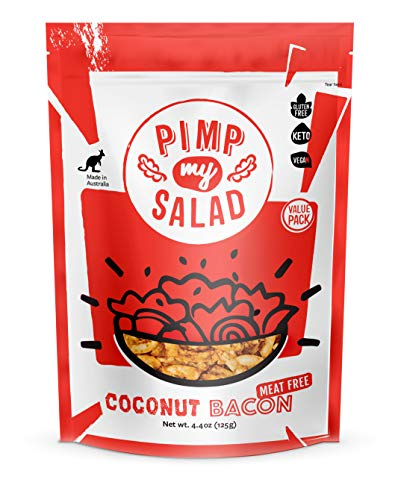 PIMP MY SALAD Coconut Bacon | Vegan Bacon Bits | Crispy Coconut with Smoky Bacon Flavor | Plant Based Protein | Paleo Crunchy Snack | Keto | Gluten Free | Low Carb