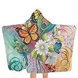Toalla infantil con capucha y mariposas y pavo real, 81,3 x 134,8 cm, material suave, absorbe y seca rápidamente, toalla de playa con capucha