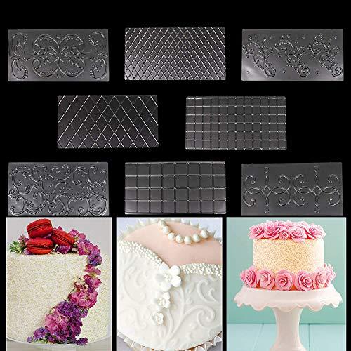 WENTS Prägematten Strukturmatte 8PCS Fondant für Tortendeko 3D Spitze Effekt mit Prägematte mit Silikonmatte Schablonen für Torten, Cupcakes, Kekse, DIY Backzubehör
