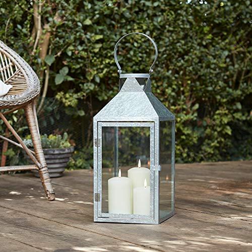Lights4fun Silberne Metall Laterne inkl. 3er Set TruGlow® Kerzen mit Timer für Innen & Außen 45cm