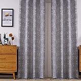 Viste tu hogar Pack 2 de Cortina Decorativa Opaca con Jacquard, Moderna y Elegante, para Salón o Habitación, 2 Piezas, 140X260 CM, Diseño Único en Color Gris.