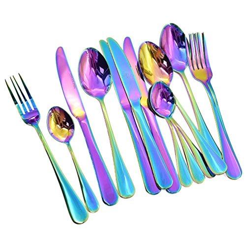 REFURBISHHOUSE 16 Pieces Set de Vaisselle Ensemble de Diner Romantique Colore Ensemble de Couverts Arc-en-Ciel